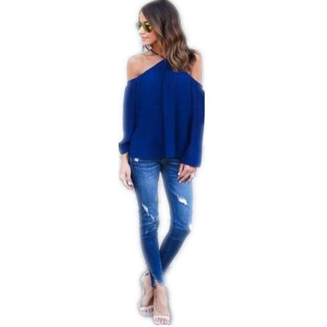 3b36c98b31c 2018 Halter Blue Women Shirts Summer Off Shoulder Sexy Solid Tops Blouse  Blusas Femininas Long Sleeve Casual Plus Size