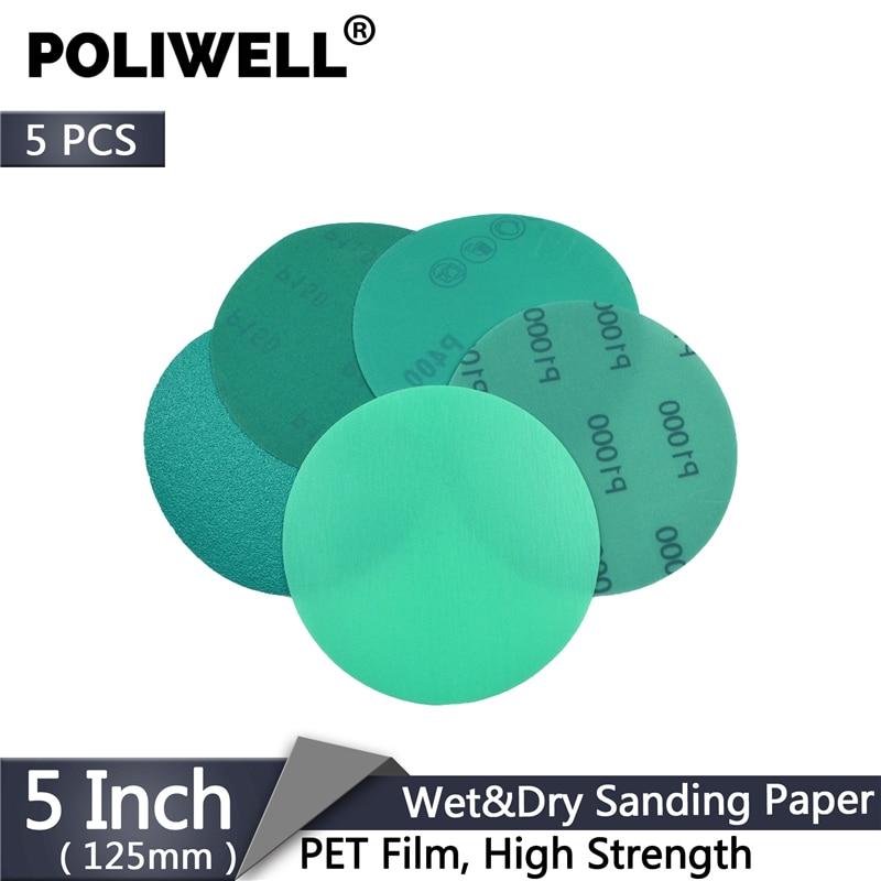 POLIWELL 5PCS 125mm Green PET Film Sanding Disc Grit 60 To 2000 Waterproof Anti-Clogging Sandpaper Hook & Loop Abrasive Tools