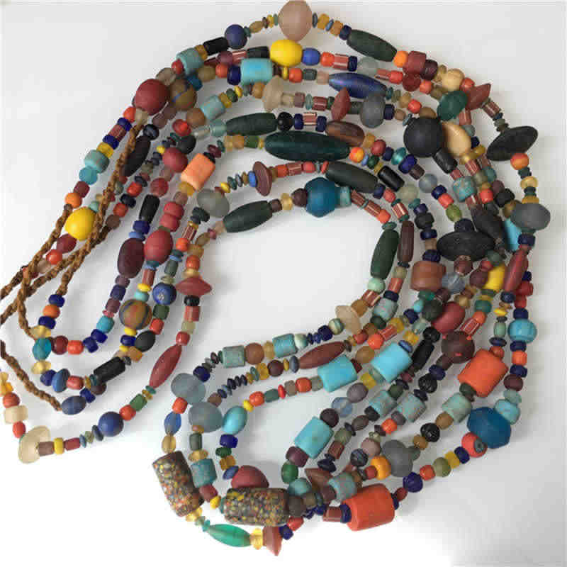 TSB0011 Nepal Handmade Colorful Safron Lampwork Beads Strand Simulated Trade Beads Long Necklaces 80-100cm