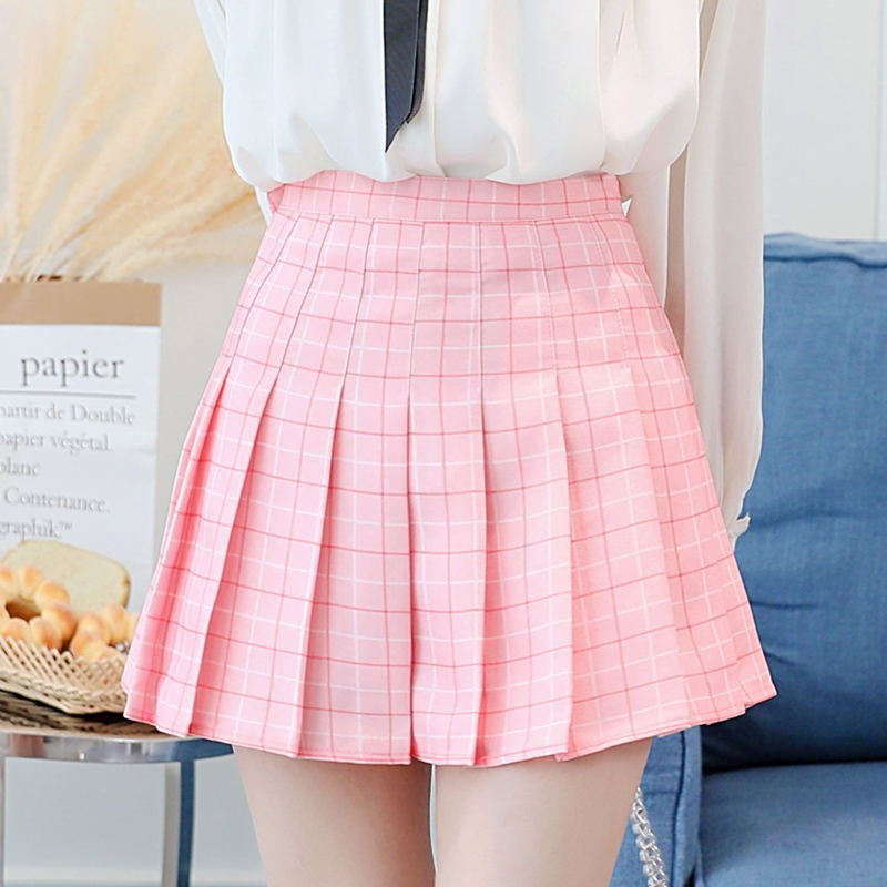 BEFORW Preppy Japanese Korea Short Skirts 2018 New High Waist Mini Womens Skirts Kawaii Pink Plaid Pleated Tennis Casual Skirt