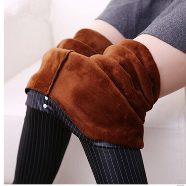 2016 Winter Warm Striped Leggings Faux Leather Shiny Soft Ankle-Length Pants Fleeces Thicken Leggings Footless Pants P8027