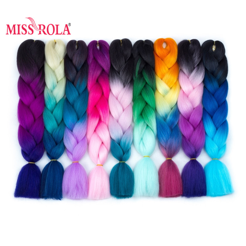 Miss Rola 100g Synthetic Jumbo Braids Hair 24 Inch High Temperature Fiber Jumbo Brading Ombre Crochet Braiding Hair Extensions