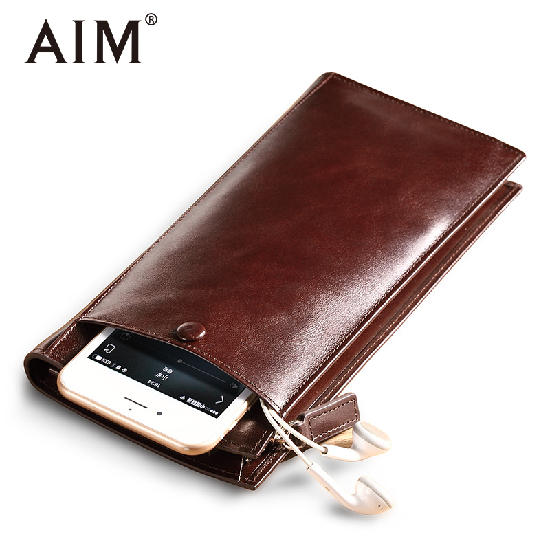 AIM High Quality Men's Long Wallet Genuine Leather Vintage Black Wallet Bag Coin Purse Cow Leather Male Carteira Wallets contact s 100% genuine leather wallet men long vintage cow leather casual purse brand design high quality wallets cell phone bag