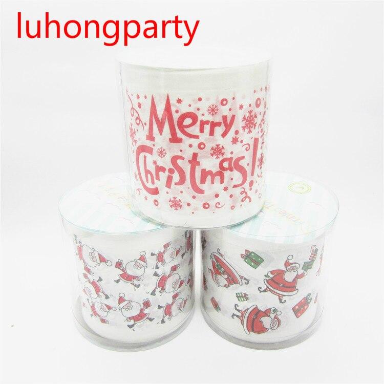 2 pacotes de 30 m/pacote projeto Do Natal Impresso Tecidos Novidade Rolo De Papel Higiênico Lenço De Papel para a decoração de Natal Atacado