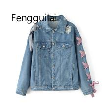 купить Spring/Autumn New solid color washed Denim jacket Fashion holes denim coat Bowknot straps outwear Women loose denim jacket coat по цене 2140.86 рублей