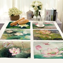 Chinese Painting Lotus Mandala Life 4 pieces Set Kitchen Table Mats Cotton Linen Table Napkin Pattern Decorative Placemats(China)