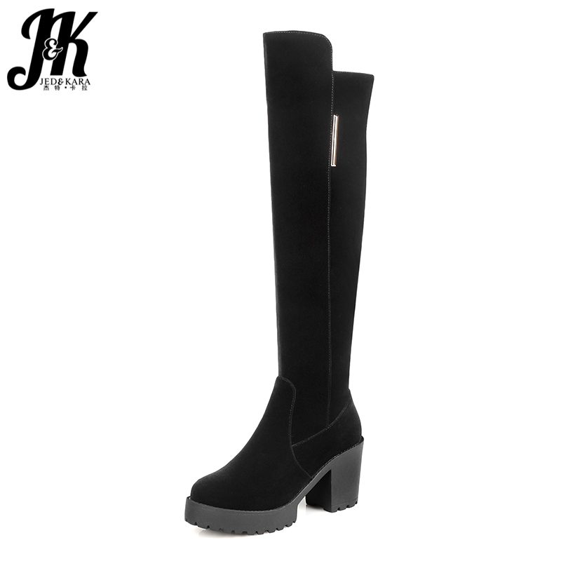 J&K Concise Ladies Over the Knee Boots Short Plush Winter Boots Square High Heels Shoes Platform Zipper Long Boots 2 styles mcmahon j the winter people a novel