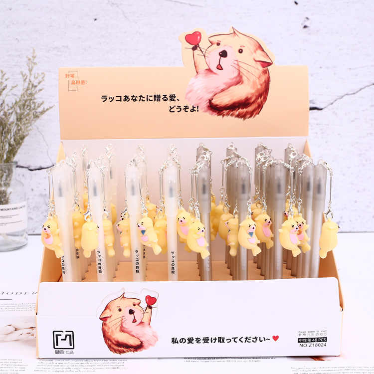 2 pcs/lot Cute Lutra Otter Pendant Gel Pen Fine Writing Ink Pen Promotional Gift Stationery School & Office Supply