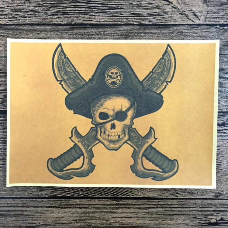 Free Ship Retro SKULL Pirate Poster Vintage Wall Art Crafts Sticker Living Room Paint Bar Cafe