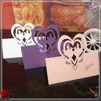 100 قطع diy حزب مقعد بطاقات الليزر قطع القلب شكل الجدول بطاقة اسم مكان بطاقة حفل زفاف تفضل هدية 6ZXX14