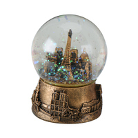 WR Customized Crystal Ball Ornaments Music Box For Christmas Gifts Silver Bronze Handmade Paris Eiffel Tower