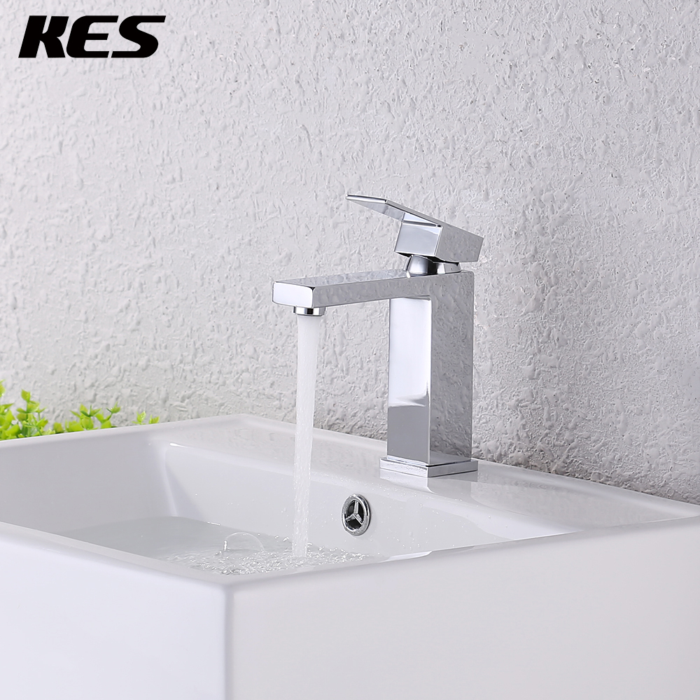 KES Lead-Free Brass Bathroom Sink Faucet Single Handle Lavatory Single Hole Vanity Sink Faucet Chrome/Brushed, L3120A1LF/-2