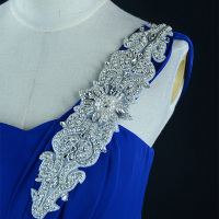 1pc Handcraft Luxurious New Sliver Crystal Rhinestone Pearl Dress Lace High Quality Wedding Dress Lace Appliqued