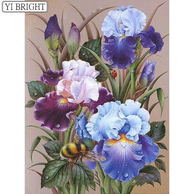 Алмазная Вышивка Цветы пчелы Алмазная вышивка крестиком на рисунке, ремесла Алмазная мозаика комплект квадратные Стразы домашний декор LK1