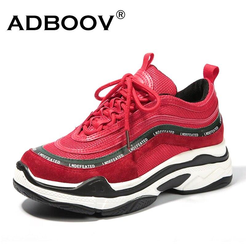 ADBOOV nuevo Vintage mujeres Zapatillas de deporte de moda de ocio zapatos de plataforma-atado transpirable zapatos casuales zapatos de Mujer Zapatillas de Mujer