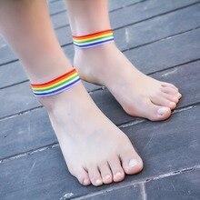 Homosexual Lesbian Pride Weave Cloth Multi Color Ankle Bracelets