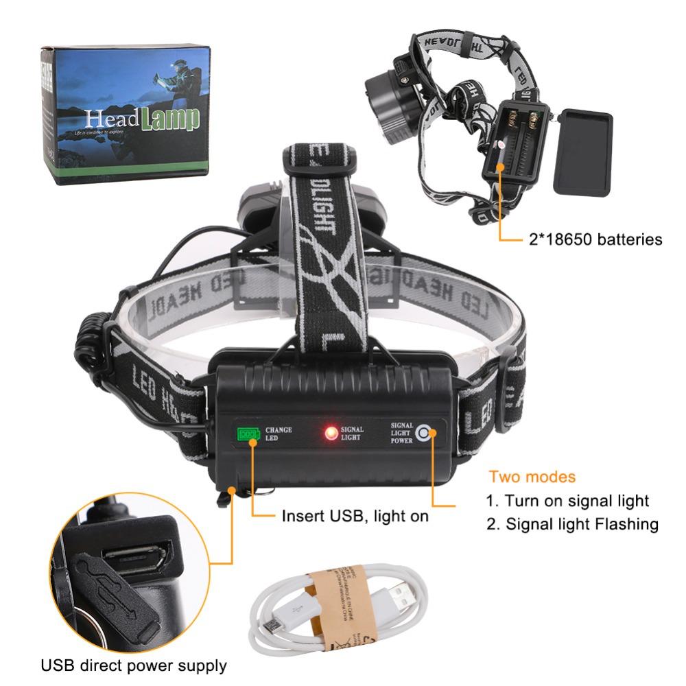 сани 6 режимов водить 15000lm фар высокой мощности 5 * Т6 светодиодный налобный фонарь hungting отдых на природе света с по USB кабель использовать для 2x18650 батареи