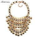 Miwens Vintage Metal Collier Rhinestone Beads Collar Choker Necklace Women Fashion Maxi Necklace Tassel Statement Jewelry 6659