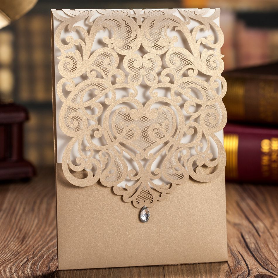 Luxury Korean Style Fantastic Gold Laser Cut Wedding Invitations Cards With Rhinestones 50pcs Free Shipping In From Home Garden On