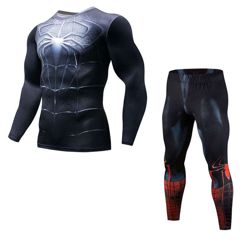 2018 Movie Avengers 3 Infinity War Iron Spider-Man Cosplay Long T-Shirts Sets Superhero 3D Compression T-shirts Tops Suits