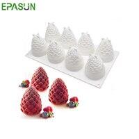EPASUN 8หลุม3Dซิลิโคนแม่พิมพ์เค้กเค้กตกแต่งรูปแบบเครื่องมืออบซิลิโคนรามูสเครื่องมืออบBakewareช็อค...