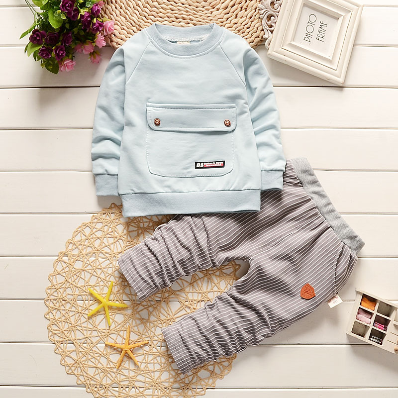 BibiCola Baby Boy Ruházat-készletek Bebe fiúk Sportruházat 2019 Új érkezési gyerekek fiú ruházat Állítsa be a csecsemő fiú ingét + nadrágos tracksuit