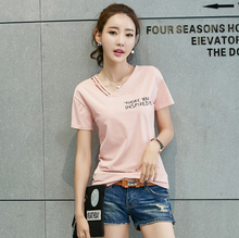 Summer T-shirt Women Clothing Short sleeve T Shirt Fashion Korean Letter print Women Tshirt Plus size Female 95% cotton Top Tees