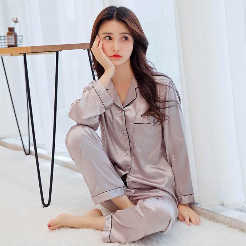 2PCS   Pajamas     Set   Female Fashion Solid Satin Home Wear Summer Pyjamas Suit Turn Down Collar Long Sleeve Sexy Nightwear Negligee