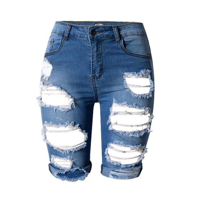 Aliexpress.com : Buy Fashion Knee Length Shorts Hole jeans woman ...