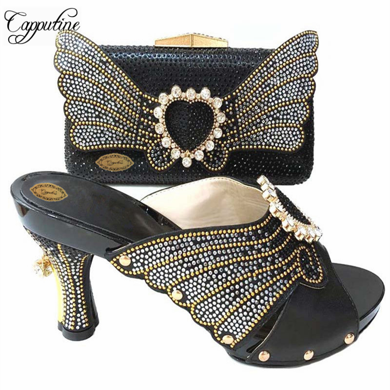 Capputine New Fashion PU And Stone High Heels Shoes And Bag Set Nigerian Style Woman Pumps Shoes And Matching Bag Set For Party цена