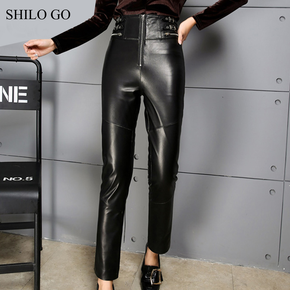 SHILO GO Leather Pants Womens Autumn Fashion sheepskin genuine leather Pants high waist sexy front zipper black pencil pants