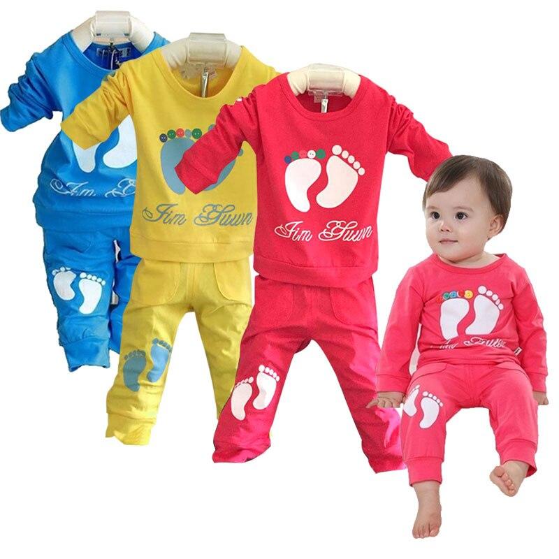 Children Boys Sports Suit Feet Girls Clothing Set Toddler Baby Boys Sweatshirts Outfits + Pants Set kids Tracksuit Z233