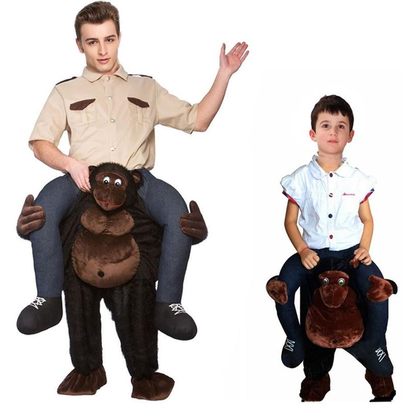Free Shipping Halloween Ride On Monkey/Gorilla/Ape Riding Shoulder Costume Cosplay Animal Pants Human Legs Cosplay Fancy Dress