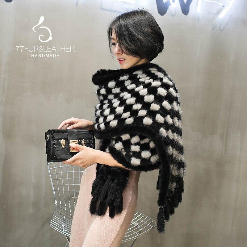 Nouveau mode réel de fourrure de vison laine tissé écharpe de fourrure femmes châle carré rayures épais épais col de fourrure