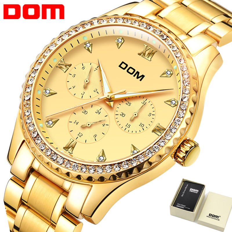 Golden Men Watch Top Brand Luxury Waterproof Multifunction Fashion Quartz Watch Gold Business DOM Watch Men 2018 New Hot M-39 цена и фото