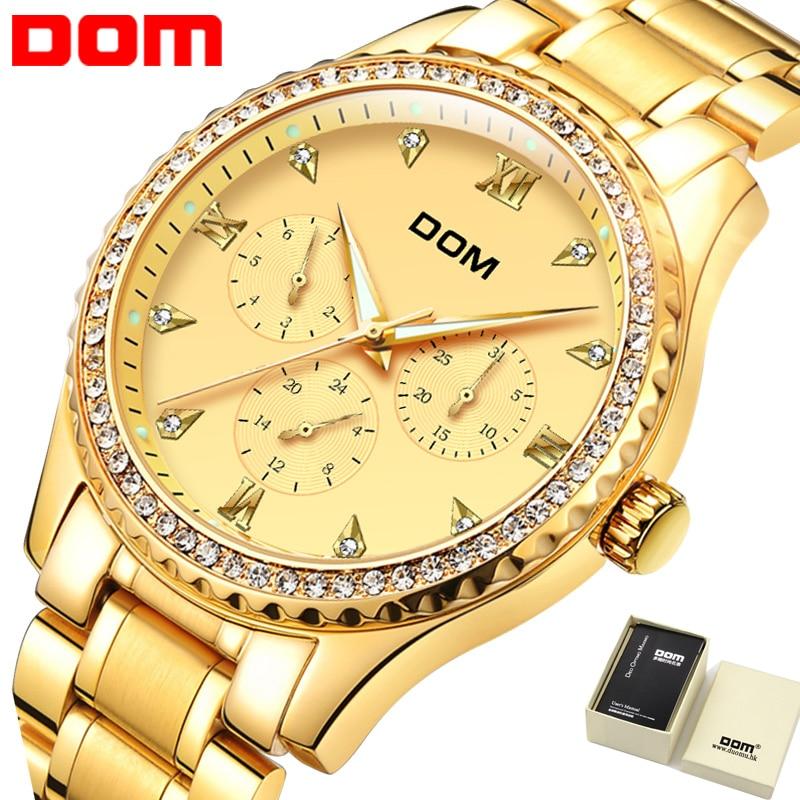 лучшая цена Golden Men Watch Top Brand Luxury Waterproof Multifunction Fashion Quartz Watch Gold Business DOM Watch Men 2018 New Hot M-39