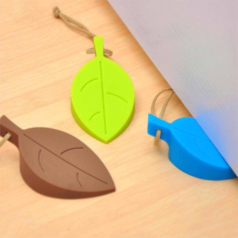 1 Uds tapón de puerta de goma de silicona bonito estilo de hoja de otoño decoración del hogar protección de seguridad para los dedos chico puertas seguras para bebés