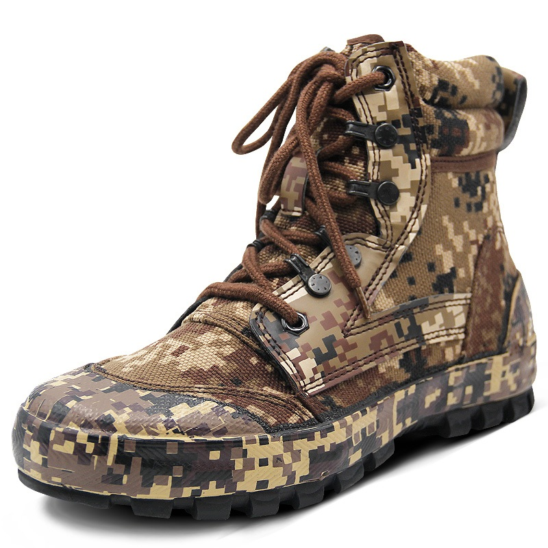 Men Outdoor Camouflage Boots Training Shoes Combat Desert Tactical Boots Camouflage Shoes Hiking Camping Shoes Climbing Shoes military camouflage boots desert tactical hiking shoes non slip breathable boots outdoor climbing camping sneakers
