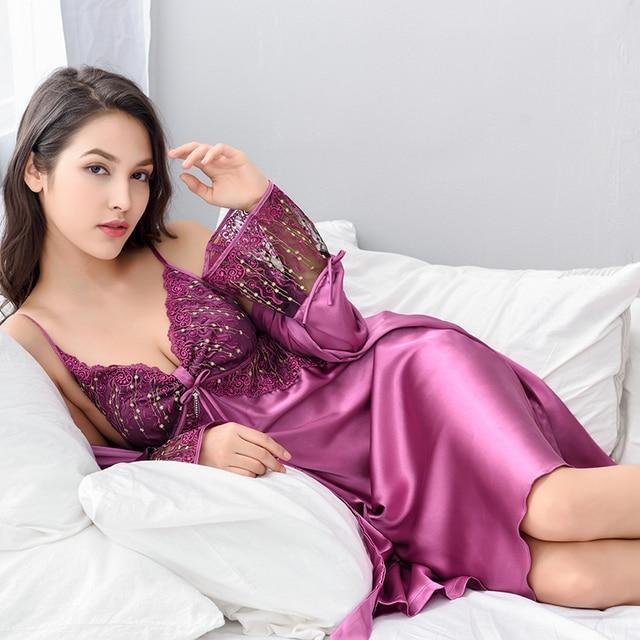 Xifenni Night Gown Sets Women Sleepwear Sexy Satin Silk Robe Set Female  Lace Embroidery Bathrobes Sleeping Dress X8205 688250d4d