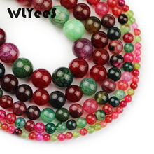 WLYeeS Natural stone Tourmaline carnelian beads 4 6 8 10 12mm pattern round loose for jewelry bracelet necklace making DIY