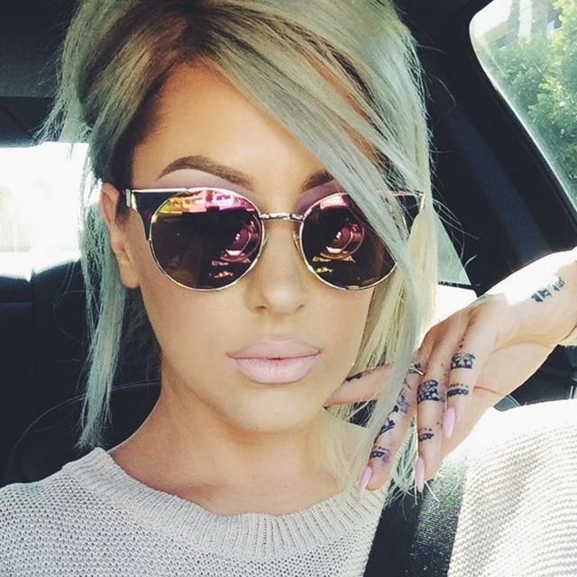 BAMONA Cat Eye Sunglasses For Women Pink Mirror Shades Female Sunglasses  2017 UV400 cateyes sun shade lentes de sol 12ffb92343