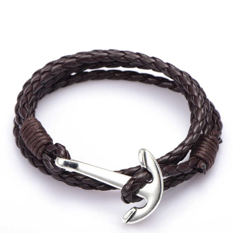 NIUYITID Man Anchor bransoletka 41cm PU skórzana bransoletka dla mężczyzn kobiety moda nadgarstek Charm Braclet męskie dodatki biżuteria