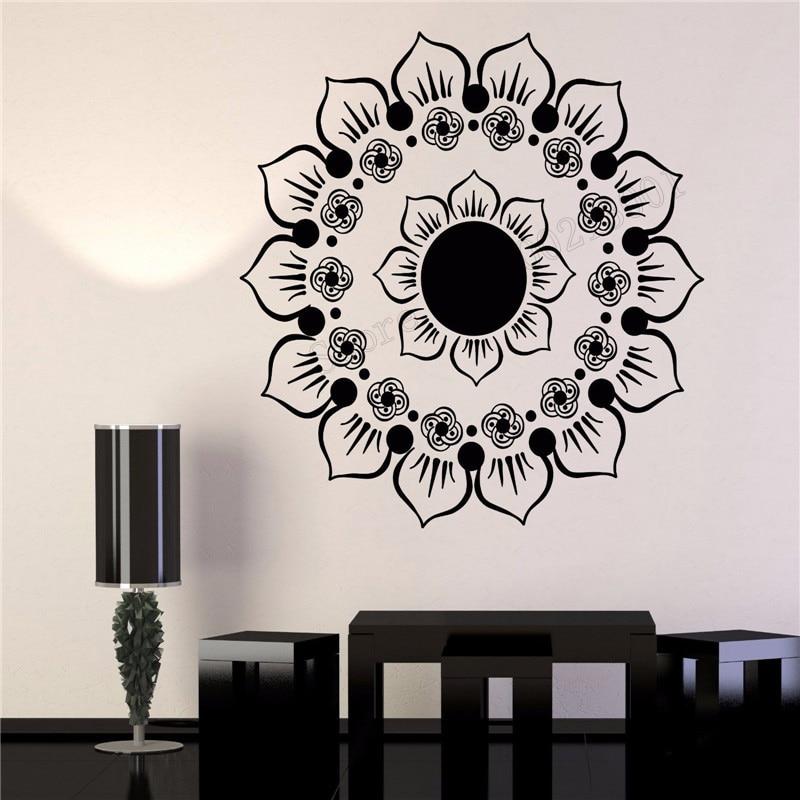 Us 6 83 31 Off Art Wall Sticker Yoga Buddhism Wall Decoration Mandala Mehndi Lotus Flower Poster Decor Beauty Decal Circle Mural Ly242 In Wall