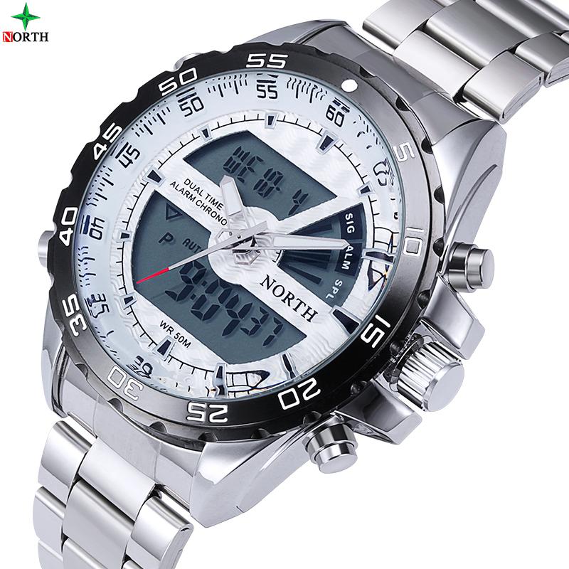 Prix pour Mens montres double affichage led numérique-montre hommes sport militaire quartz montre bracelet en acier relogio masculino marque de luxe north