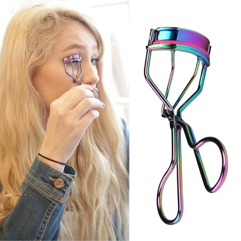 1PC Rainbow Color Eyelash Curler New Fashion Folding Eyelash Assist Natural Curly Steel Eyelash Curling Clip Small Makeup Tools