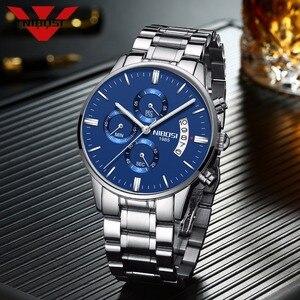 Image 2 - NIBOSI mavi saat erkekler saatler lüks Top marka erkek izle Relogio Masculino lacivert askeri ordu Analog kuvars bilek saatleri