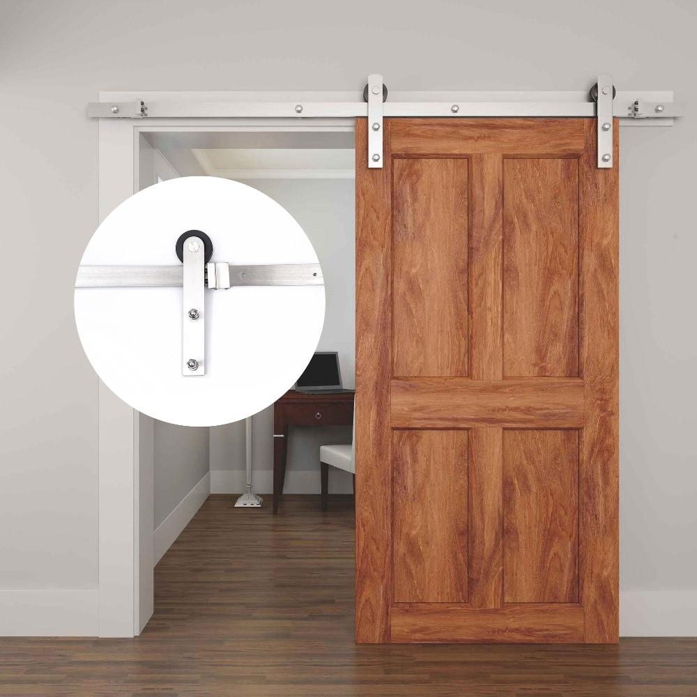 Systèmes de porte coulissante en bois simples intérieurs modernes d'acier inoxydable de 4.9FT/6FT/6.6FT