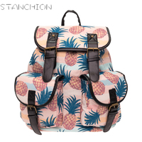 STANCHION Canvas Backpack For Women Double Pocket Yellow Pineapple Pastel Colour Pineaple Retro Backpack