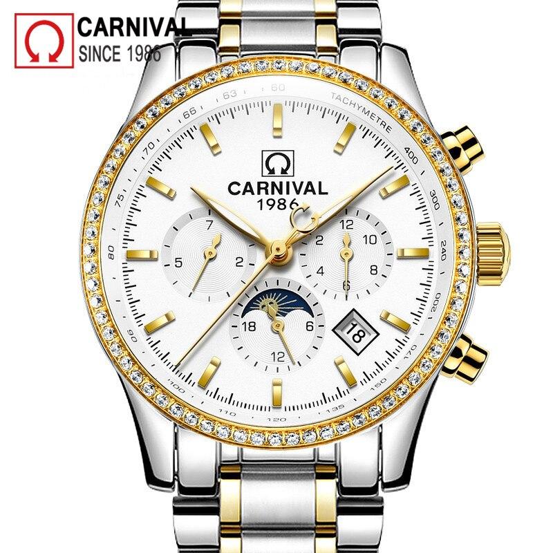 Карнавал золотые автоматические часы для мужчин Relogio Moon Phase Мужские механические часы Топ бренд класса люкс Malek часы календарь montre homme - 2
