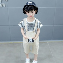 Hot Children Summer Cotton Boys Cartoon Puppy Print Korean Fashion Striped Short-sleeved T-shirt Bib Kids Boy Clothing Set